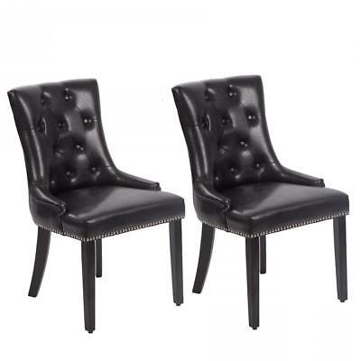 Set of 2 Black Elegant Dining Side Chairs PU Leather Button