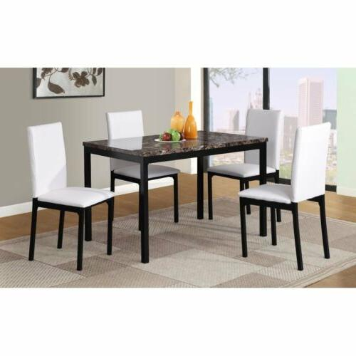black white brown 5 pc dining table