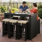 Outdoor Patio Bar Set Black Wicker Pub Height 7-Piece Modern