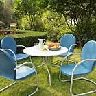 Blue White OUTDOOR METAL RETRO 5 PIECE DINING TABLE & CHAIRS