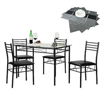 Brand New VECELO Glass Dining Table Set with 4 Nice Chairs B