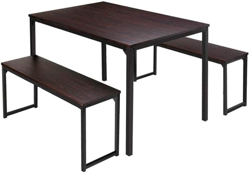 Brown Kitchen 3 Piece Dining Table 2 Benches Wood Furniture