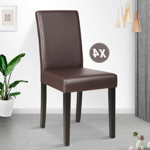 brown set of 4 dining chair leather