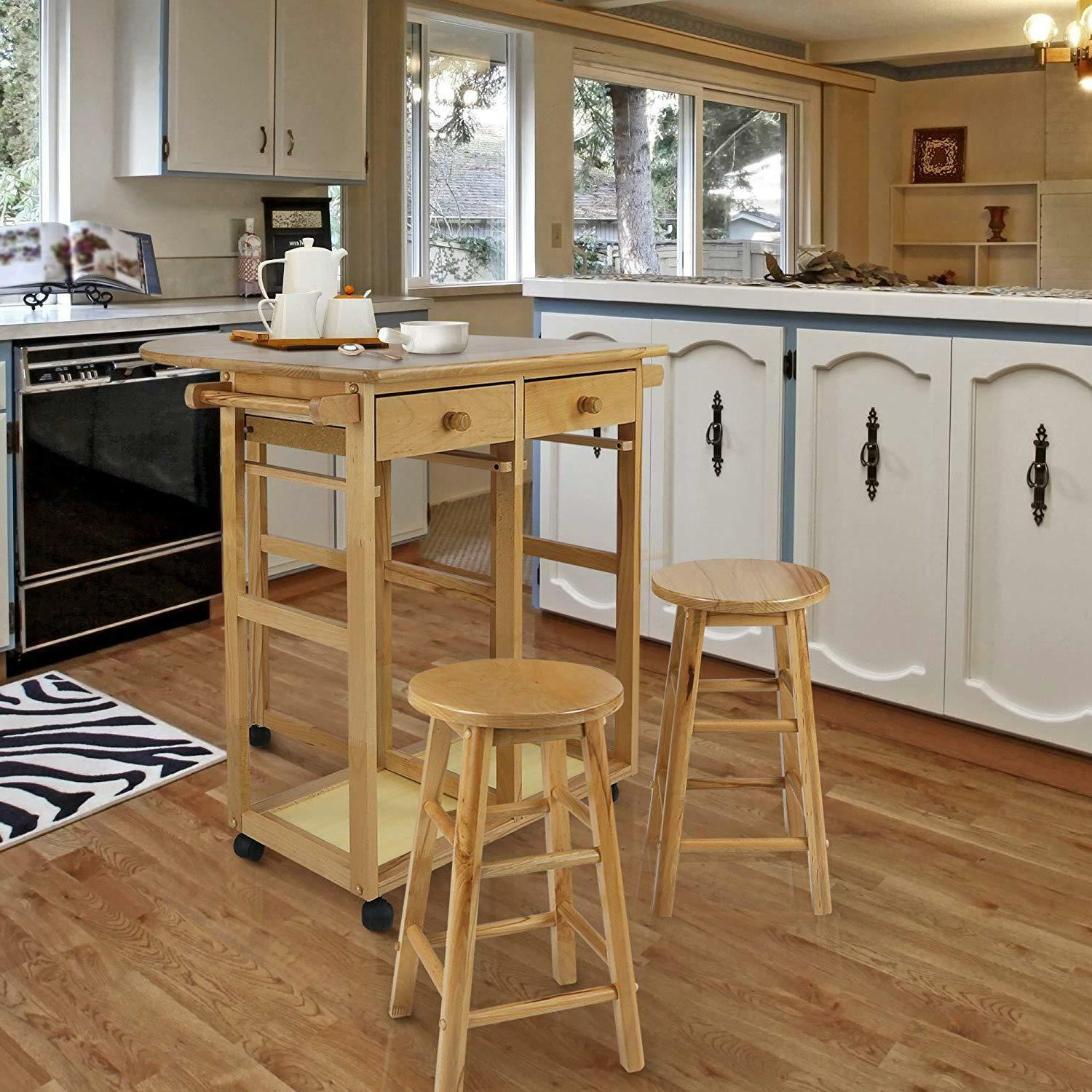 Casual Leaf Breakfast Cart with 2 Stools-White