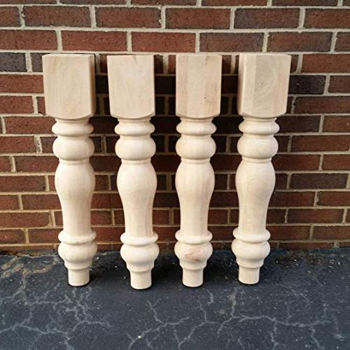chunky unfinished farmhouse dining table legs  set turned de