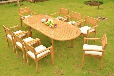 CLEARANCE Montana A-Grade Teak 9pc Dining 94 Oval Table 8 St