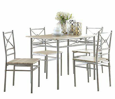 Coaster 100035 Home Furnishings 5 Piece Dining Set, Brushed