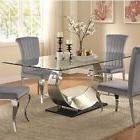 CONTEMPORARY CHROME & GLASS DINING TABLE WITH GREY CHAIRS FU