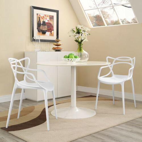 Contemporary Modern Unique Molded Plastic Dining Armchairs i