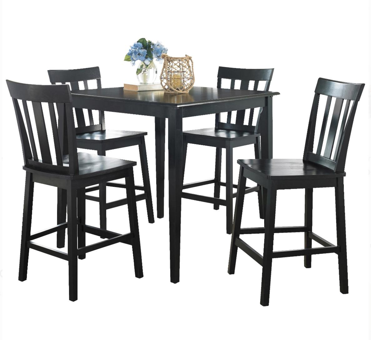 Counter Height Table & 5 Breakfast Black