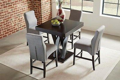 CRISS CROSS CAPPUCCINO COUNTER HEIGHT DINING TABLE GREY CHAI