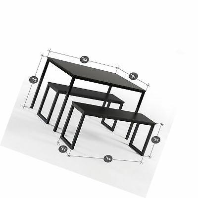 Zinus Dern Studio Soho Table With Two Benches / 3 Piece Set,