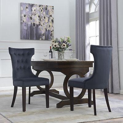 Set of 2 Dining Chair Tufted Fabric Button Elegant Modern Ar
