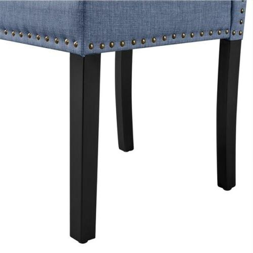 Dining Chairs with Nailhead Soft Padded, Blue, of
