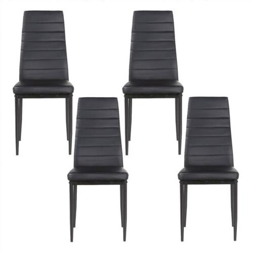 Kenwell Set of 4 Stunning Dining Chairs Comfortable Black Le