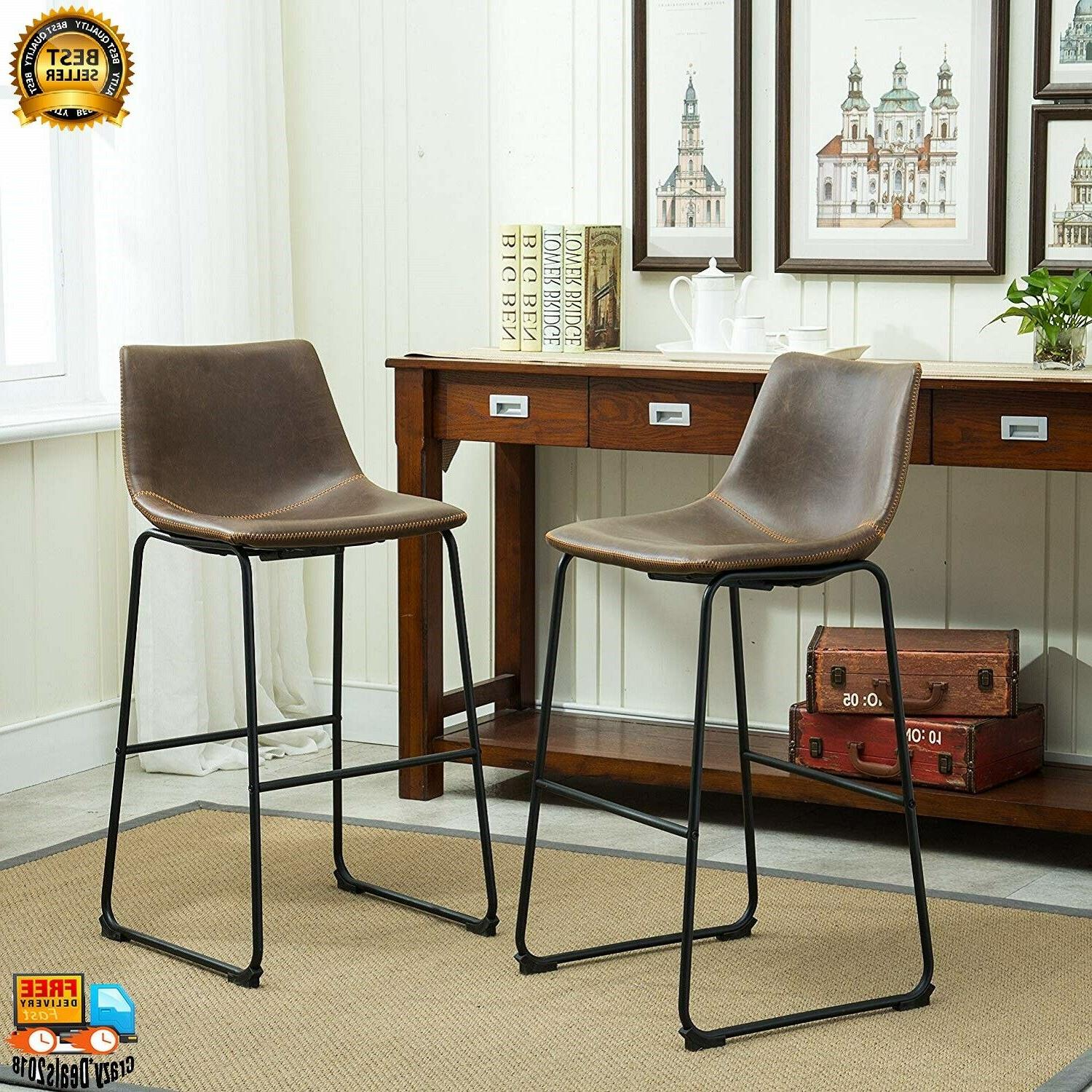 Roundhill Furniture dining chairs Vintage PU Leather Barstoo