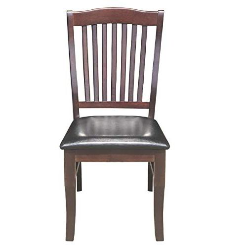 Giantex Set of Dining Chairs Armless Chair Home Room High Chairs w/PU Leather Padded , Dark Brown)