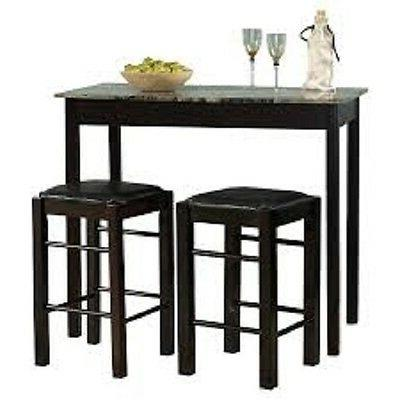 Dining Room Breakfast Bar Height 3 Piece Set Side Table Serv