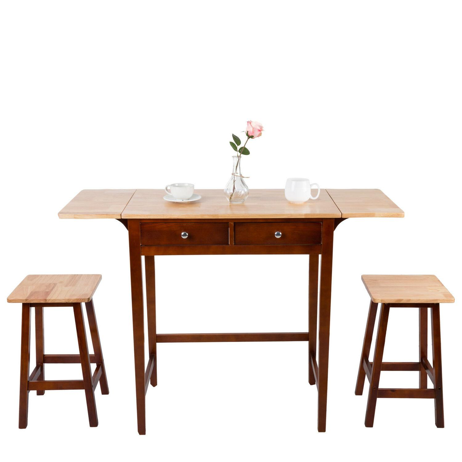 Dining Set 3 PC Wood Breakfast Nook Bistro Double Drop Leaf
