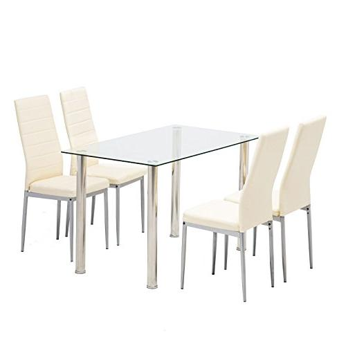 Set, Glass Set with 4 Chairs Room