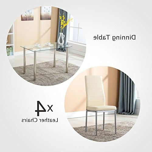 Mecor Piece Dining Set, Glass Set Chairs Metal Room