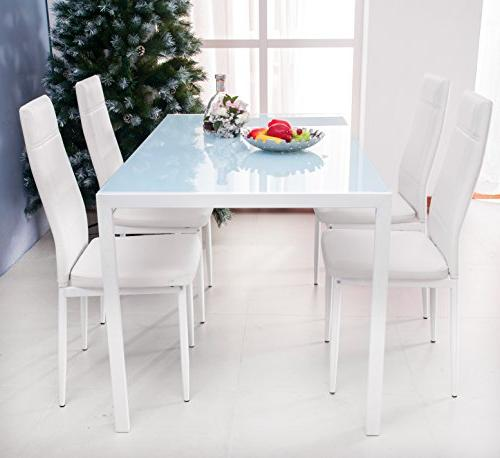 dining set glass metal table
