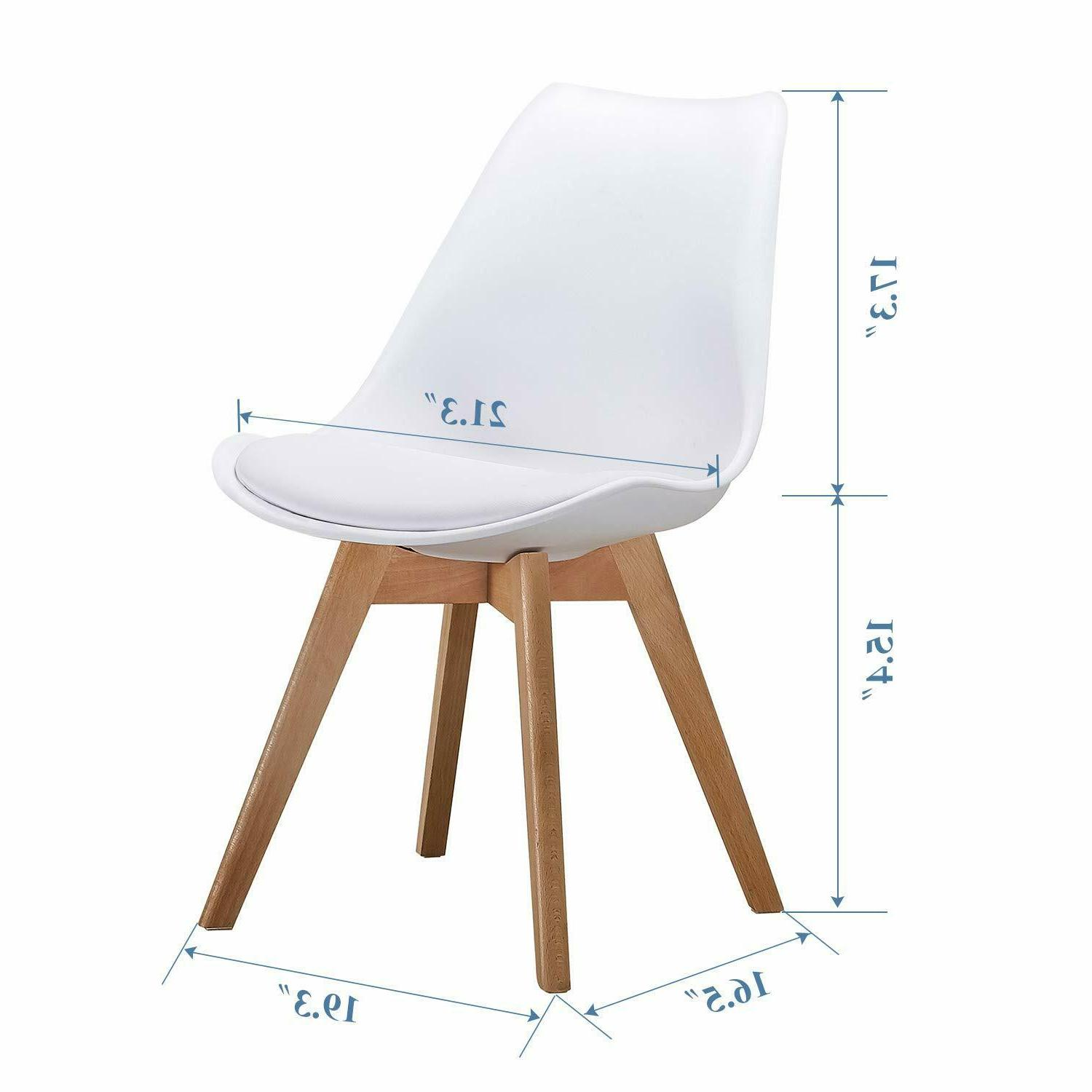 Dining Chairs PU with Wooden Set 4, White