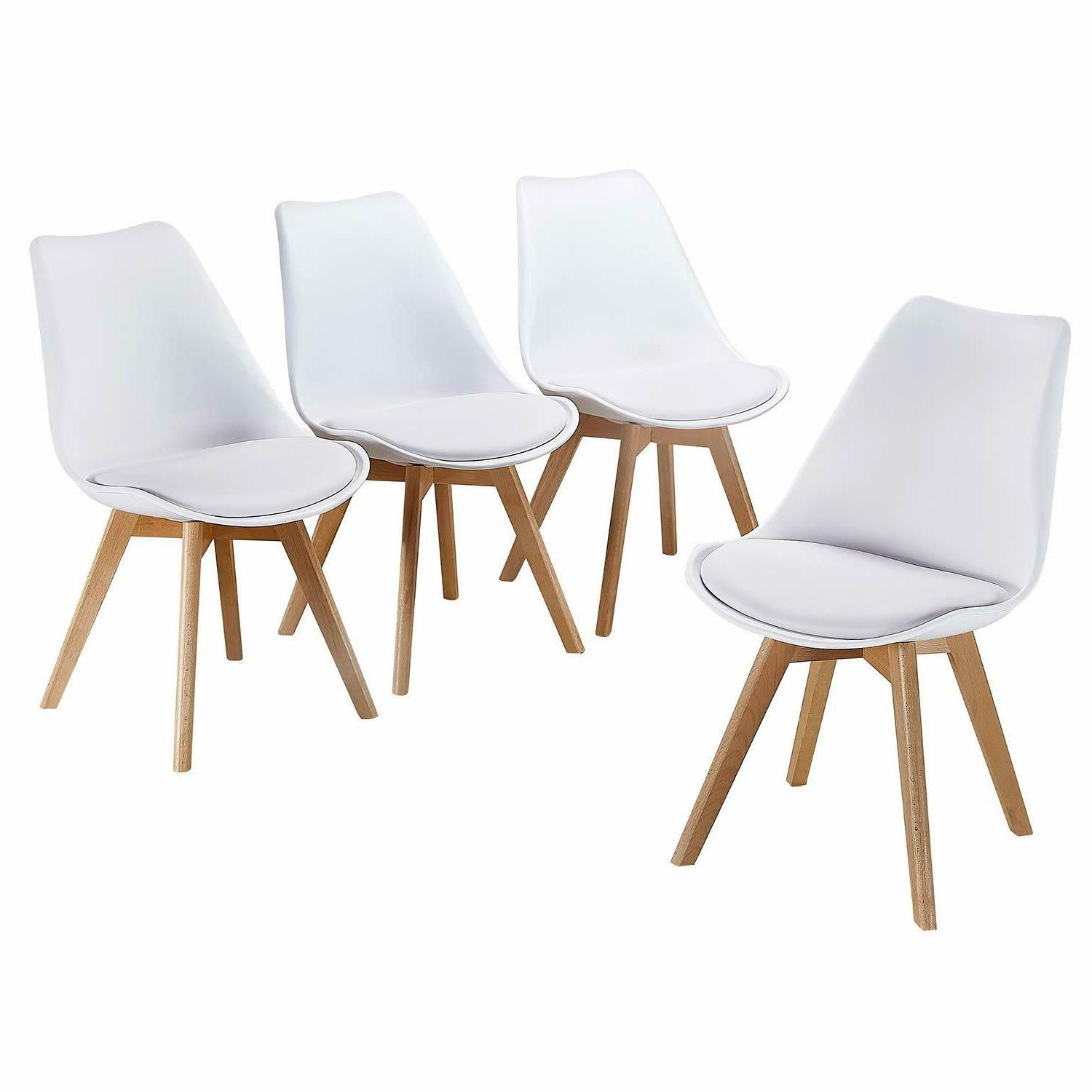 Dining Chairs PU with Wooden Legs, 4,