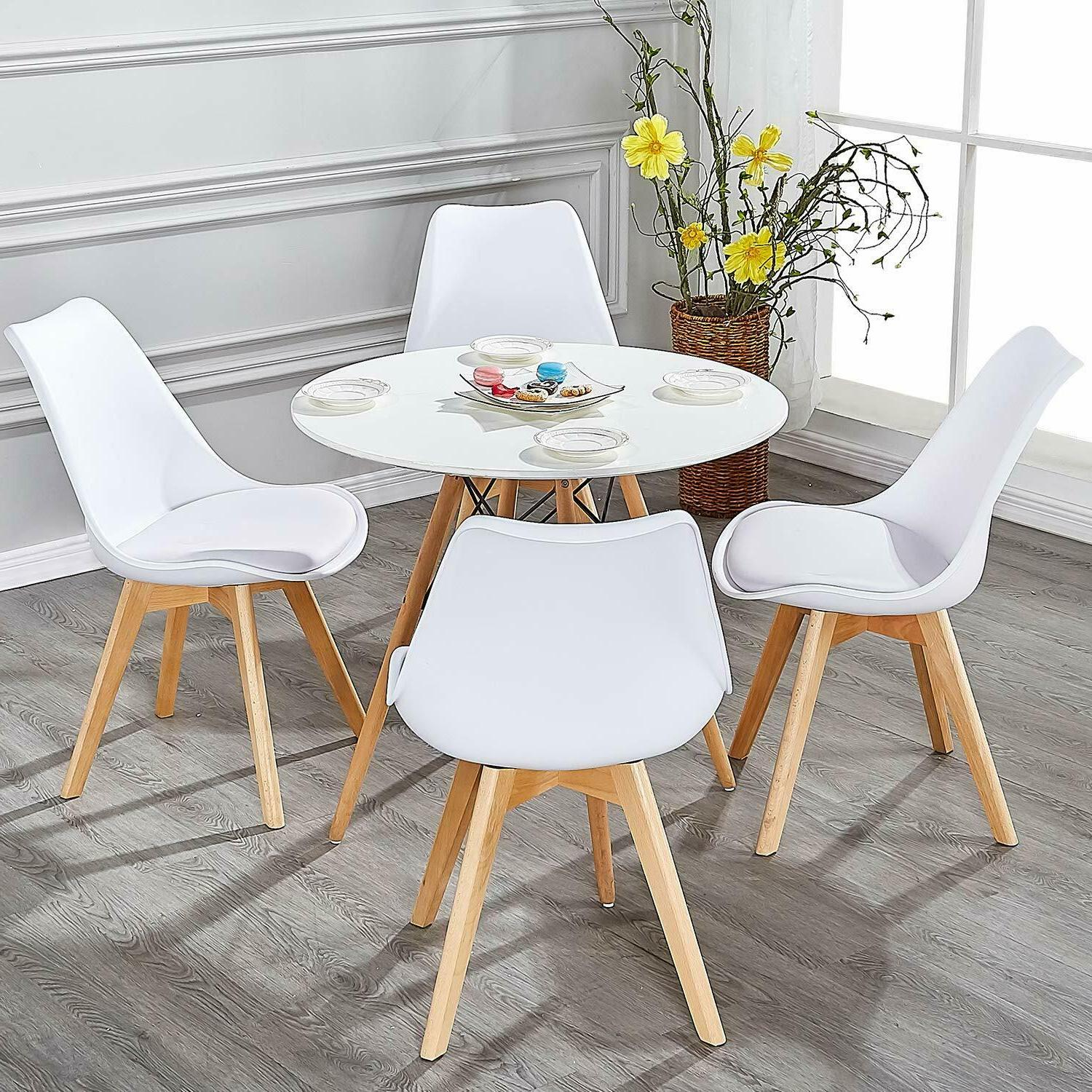 Dining Side Durable Wooden Legs, Set 4, White