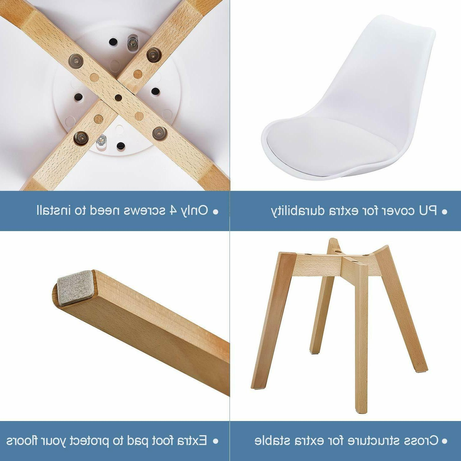 Dining Durable PU Cushion with Solid Wooden 4,