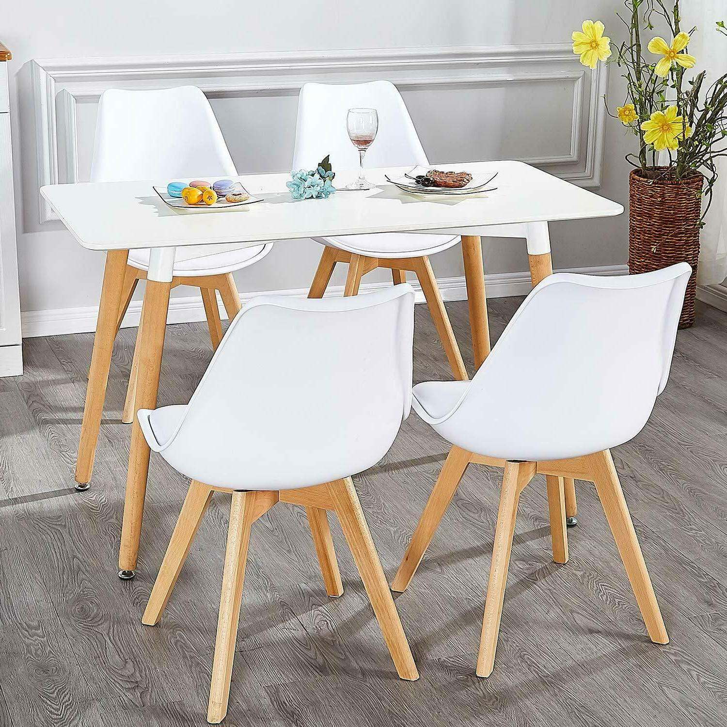 Dining Chairs Durable PU Solid Wooden Set of 4,
