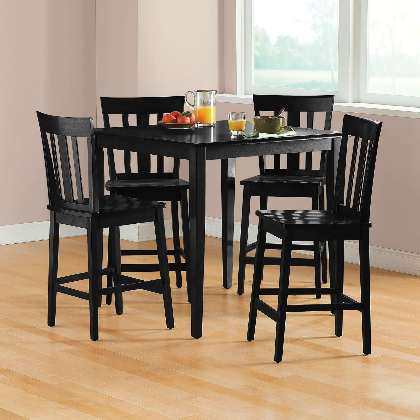 Dining Table and Set 5 Piece Counter Height Furniture Home Black