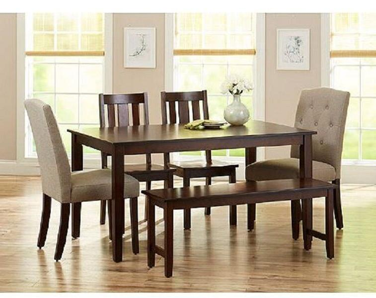 Dining Set 6 Piece Bench Kitchen Chairs Wood