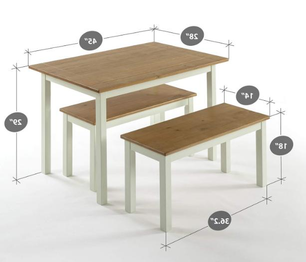 Dining Table Benches Set Kitchen Farmhouse Wood 3 PC Two