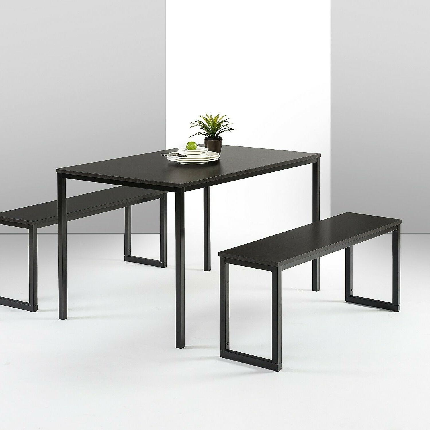 Dining Table Set 3 Piece Kitchen Room Breakfast Furniture Wi