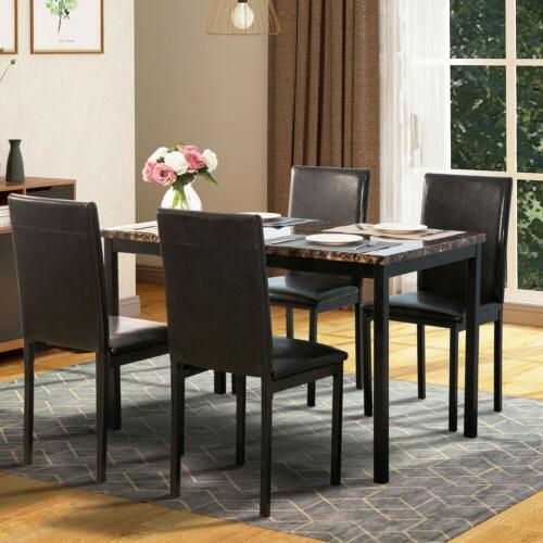 dining table set 5 piece rubber wood