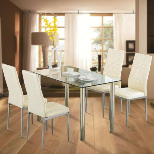 5 Piece Dining Table Set Tempered Glass Set w/ 4 Chairs for