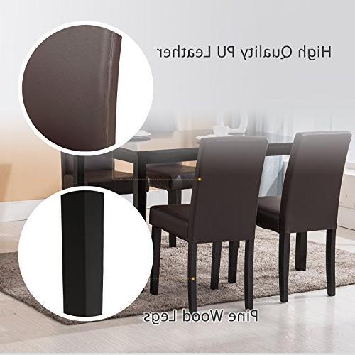 Mecor 5 Table Wood Table/4 Leather Chairs Breakfast Furniture