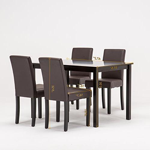 Mecor Table Wood Leather Chairs Kitchen Breakfast Furniture