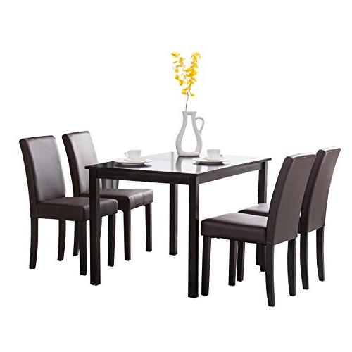Mecor 5 Piece Table Wood Leather Room Breakfast Furniture