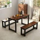 Dining Table with Two Benches Heavy-duty Metal Base Kitchen