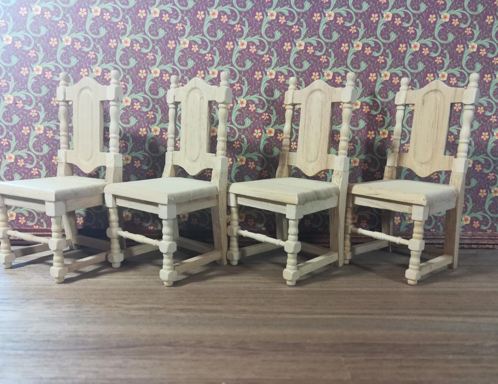 Dollhouse Miniature Set of 4 Room Chairs