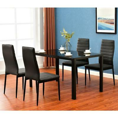 Durable Piece Dining Table Set 4 Glass Metal Breakfast