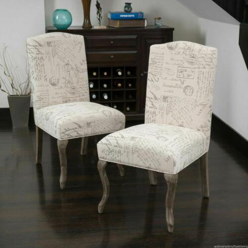 Crown Back French Script Beige Fabric Dining Chairs