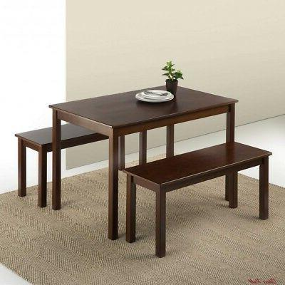 espresso dining table set wood 2 benches