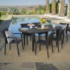 Evan Outdoor 7-piece Oval Wicker Dining Set by Christopher K