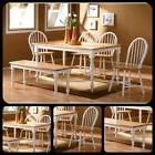 Farmhouse Dining Set With Bench For 6 Kitchen Living Room Fu