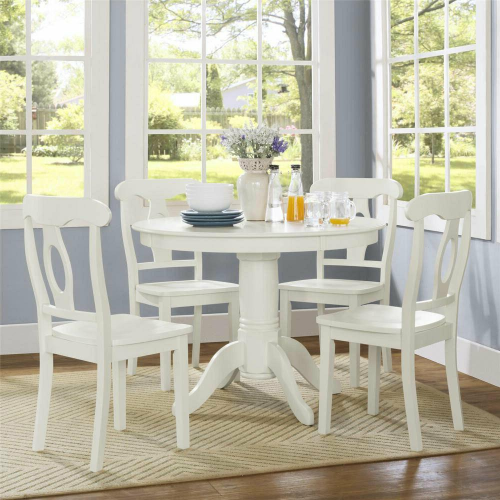 Farmhouse Dining Table Set White Round Dining Room Kitchen T