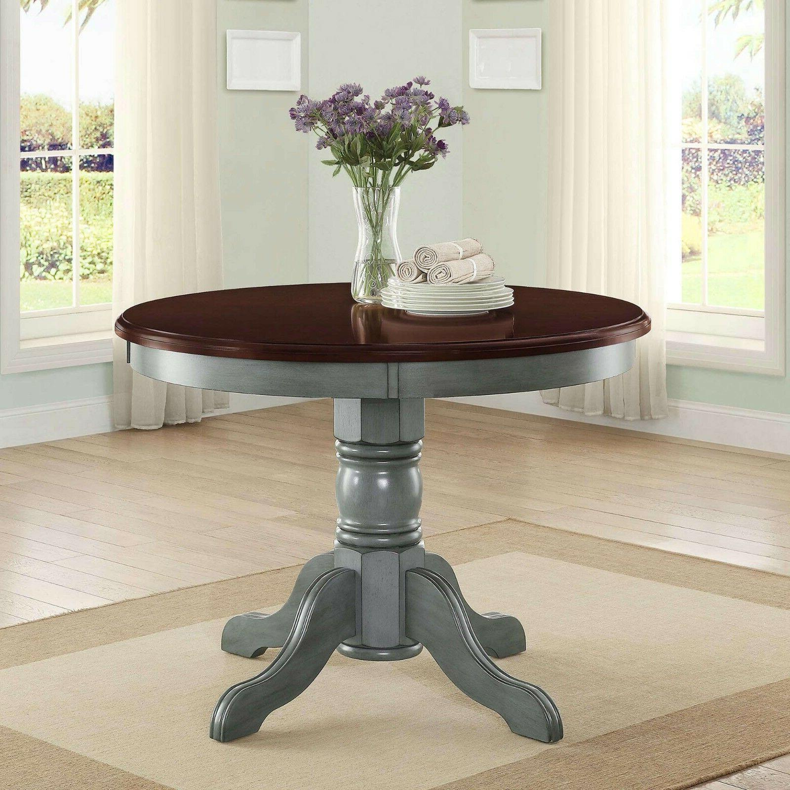 5 Piece Set Rustic Round Table Chairs Teal Mocha