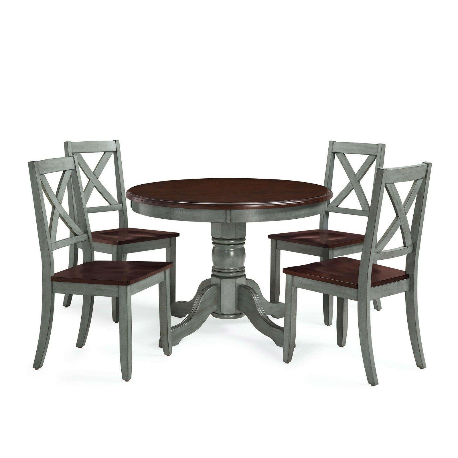 5 Set Rustic Table Chairs Mocha